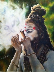 Shiva smoking his chillum